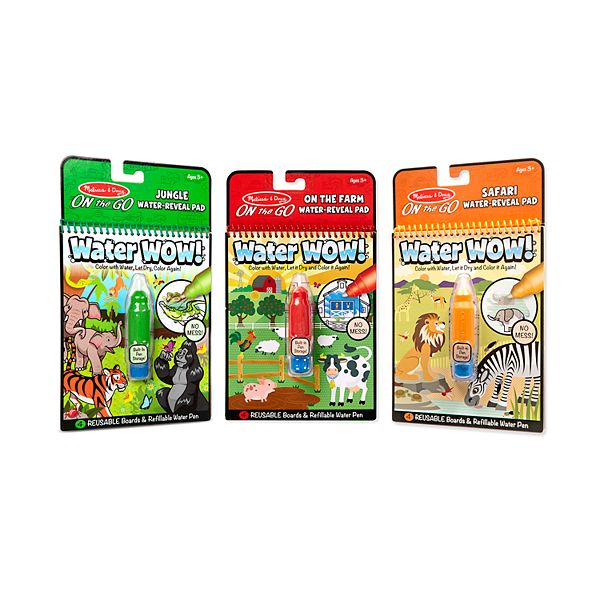 Melissa Doug On The Go Water Wow Color With Water Activity Pad 3 Pack Jungle Safari Farm