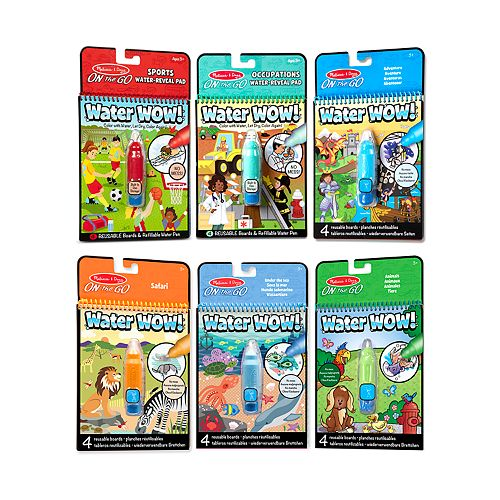 Melissa Doug On The Go Water Wow Color With Water Activity Pad 6 Pack Sports Occupations Adventure Safari Under The Sea Animals