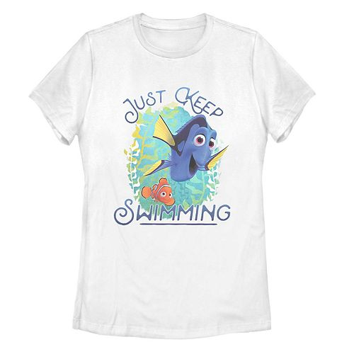 Juniors' Finding Dory Just Keep Swimming Poster Tee