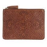 Violet Ray Floral Whipstich Faux-Leather Pouch