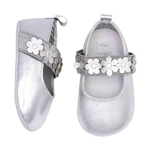 Baby Girl Carter's Metallic Maryjane Floral Crib Shoes