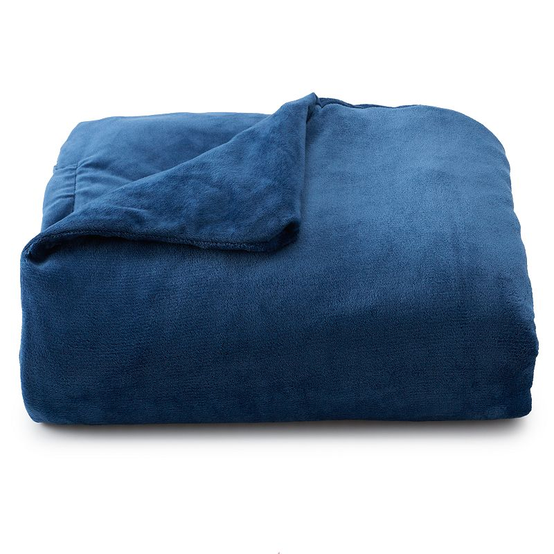 Brookstone Calming Weighted Throw Blanket, Blue, 15 LBS