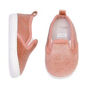 Baby Girl Carter's Velour Slip On Crib Shoes