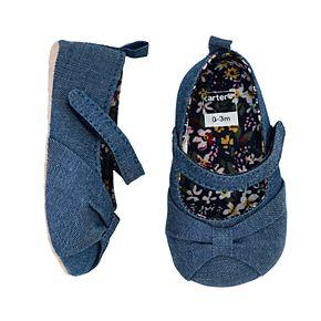 Baby Girl Carter's Chambray Maryjane Bow Crib Shoes