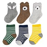 Baby Boy Carter's 6pk Animal Stripe Crew Socks