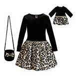 Girls 4-10 Dollie & Me Velvet Bodice/Mesh Skirt Dress with Purse & Matching Doll Dress