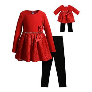 Girls 4-10 Dollie & Me Knit/Lace Dress with Legging with Matching Doll Set
