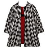 Girls 4-6x Bonnie Jean Sleeveless Textured Knit Dress With Velvet Ribbon Trim To Houndstooth Doubleknit Coat