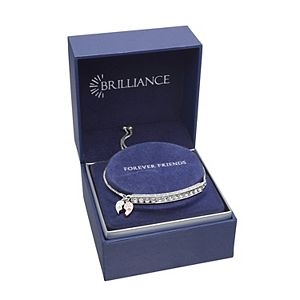 "Brilliance Two-Tone ""Friends Forever"" Bar Bracelet with Swarovski Crystals"
