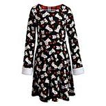 Girls' 7-16 Emily West Reversible Printed Christmas Dress