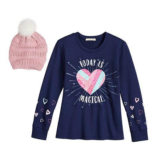 Girls 7-16 Self Esteem Graphic Tee & Hat Set