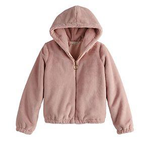 Girls 7-16 Self Esteem Faux Furry Hooded Jacket