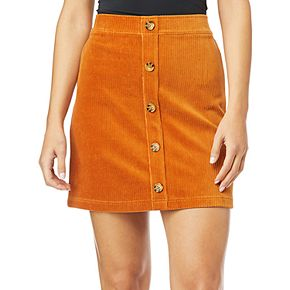 Juniors' WallFlower Stretch Knit Corduroy Skirt with Button Detail