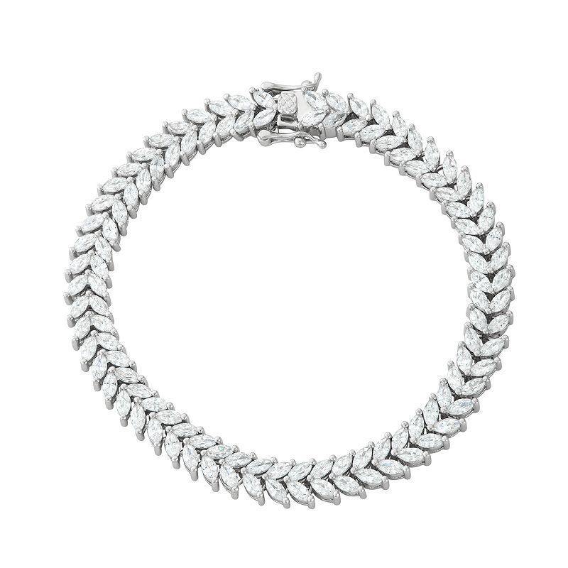 "Sterling Silver Marquise Cut Cubic Zirconia Bracelet, Women's, Size: 7"""