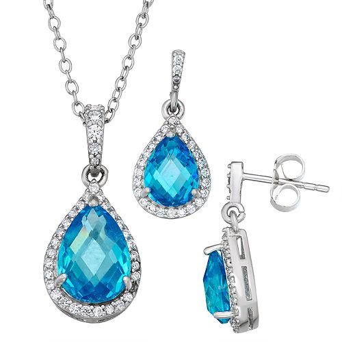 Sterling Silver Pear-Shaped Blue Cubic Zirconia Earrings & Pendant Necklace Set