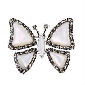 Sterling Silver Mother of Pearl & Marcasite Butterfly Pin
