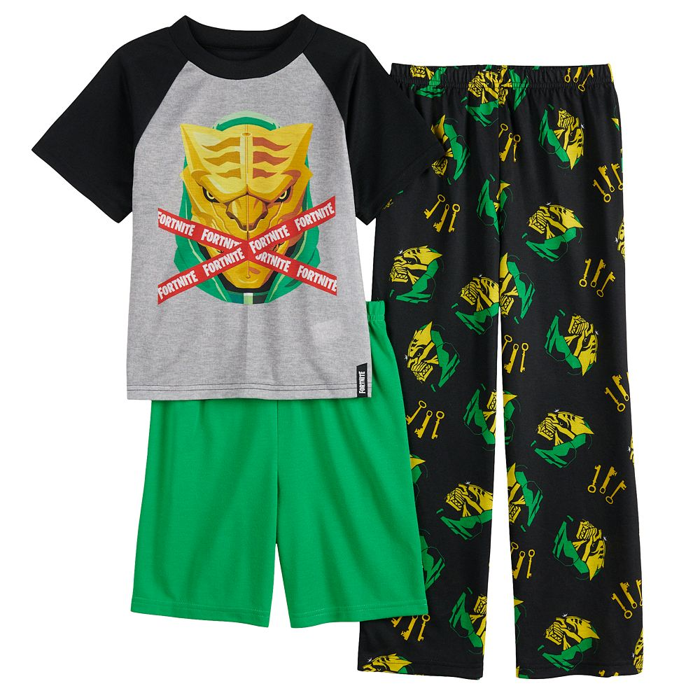Boys 8-16 Fortnite Master Top, Shorts & Pants Pajama Set