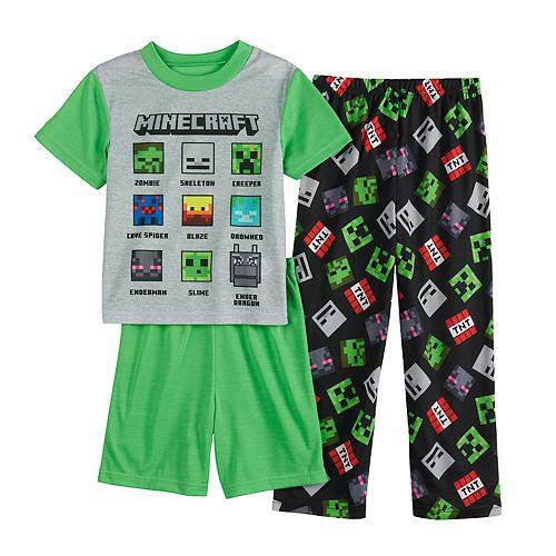 Boys 6-12 Minecraft Face the Mob Top, Shorts & Pants Pajama Set