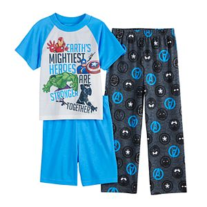 Boys 6-12 Marvel Avengers Stronger Togther Top, Shorts & Pants Pajama Set
