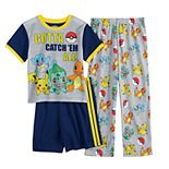 Boys 6-12 Pokemon Catch 'em Top, Shorts & Pants Pajama Set