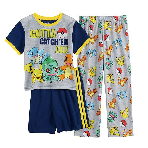 Boys 6-12 Pokemon Cath'em Top, Shorts & Pants Pajama Set