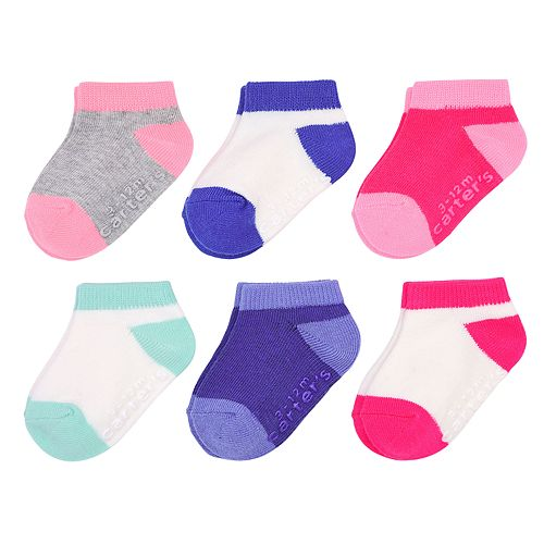 Girls 0-24m Carter's 6-pack Colorblock Ankle Socks