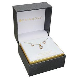 PRIMROSE Sterling Silver Cubic Zirconia Pendant Necklace & Stud Earring Set