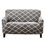Great Bay Home Printed Velvet Plush Form Fit Stretch Loveseat Slipcover