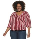 Plus Size EVRI Surplice 3/4 Sleeve Pullover Blouse