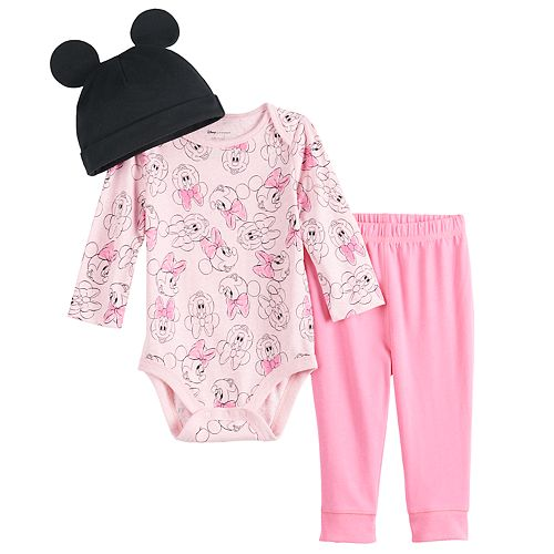 Disney's Minnie Mouse Baby Girl Bodysuit, Pants & Hat Set by Jumping Beans®