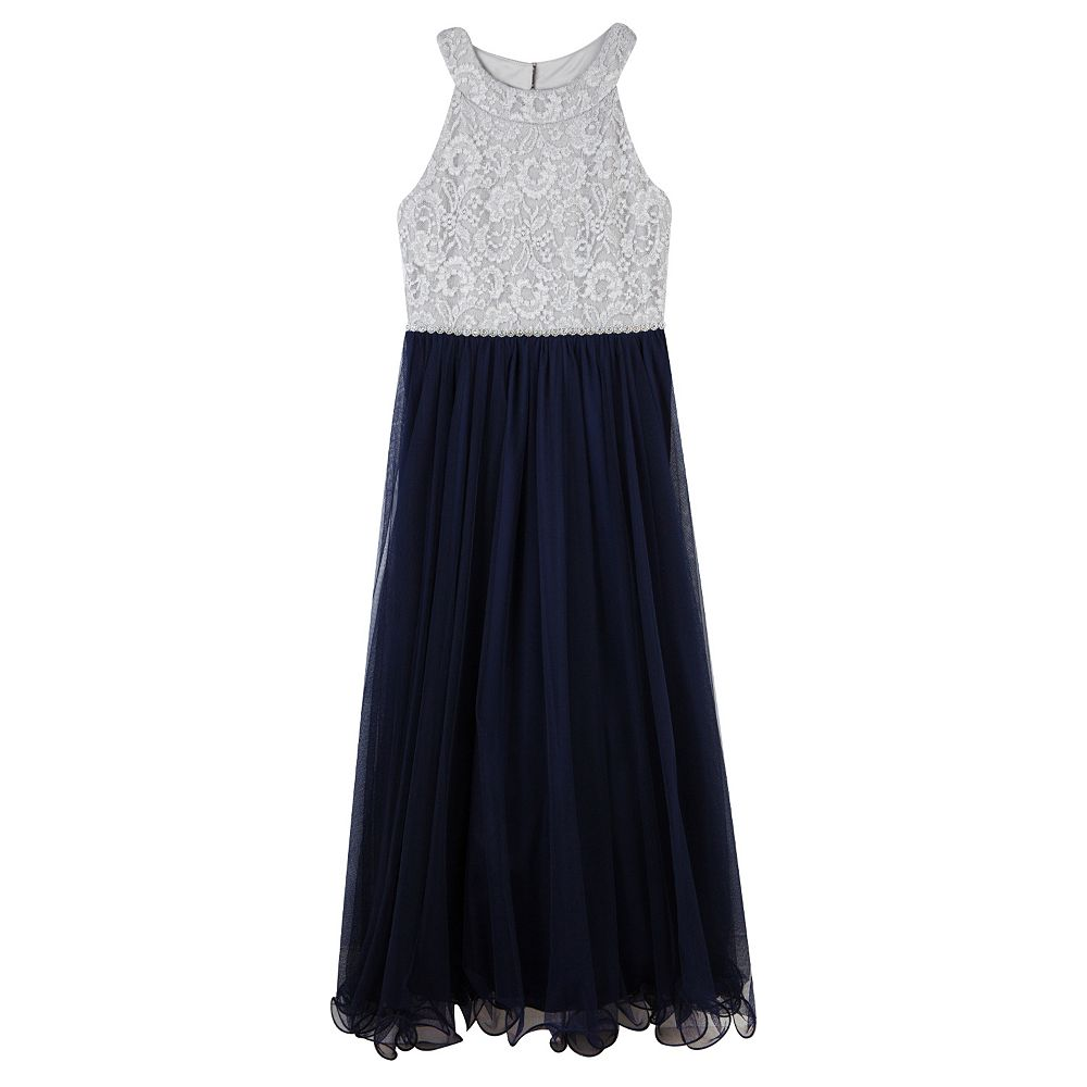 Girls 7-16 Speechless Glitter Lace to Tulle Maxi Dress