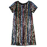 Girls 7-16 Three Pink Hearts Rainbow Sequins Tee Shirt Dress