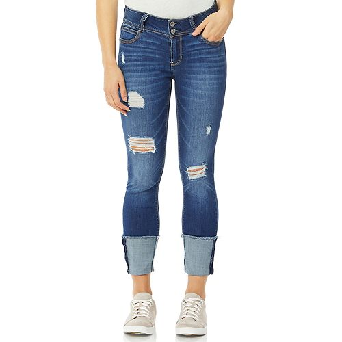 Juniors' Wallflower Distressed Curvy Fashion Ankle Jeans