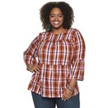 Plus Size EVRI Bell Sleeve Tiered Top