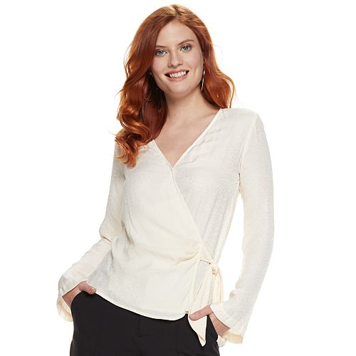 Women's Nine West Sleeve-Slit Wrap Blouse