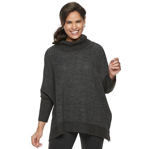 Women's Croft & Barrow® Textured Cowlneck Poncho Sweater