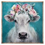 Fine Art Canvas Fancy Cows Canvas in Barnwood Frame