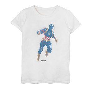 Girls 7-16 Marvel Avengers Endgame Captain America Spray Paint Tee