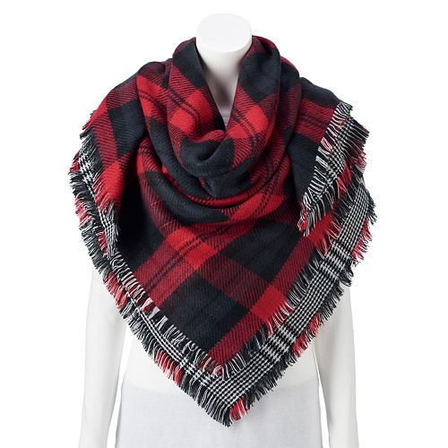 Women's Apt. 9® Reversible Plaid Square Blanket Wrap