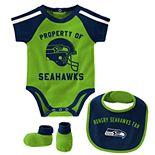 Baby Boy Seattle Seahawks Tackle 3-Piece Bodysuit Set
