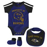 Baby Boy NFL Baltimore Ravens Tackle Creeper, Bib, & Bootie Set