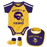Baby Boy NFL Minnesota Vikings Tackle Creeper, Bib, & Bootie Set
