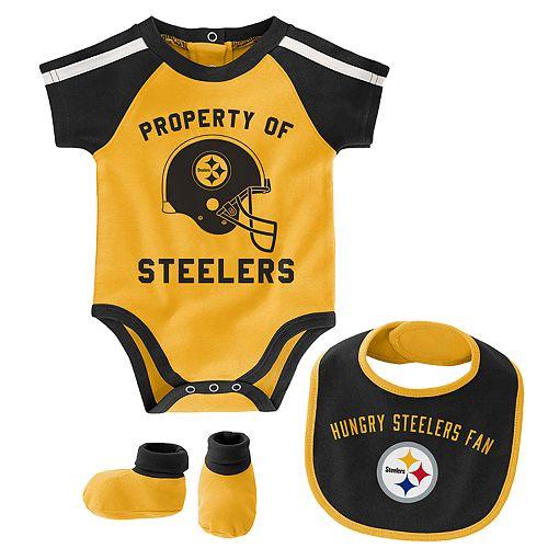 Baby Boy NFL Pittsburgh Steelers Tackle Creeper, Bib, & Bootie Set