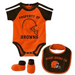 Baby Boy NFL Cleveland Browns Tackle Creeper, Bib, & Bootie Set