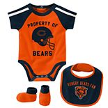 Baby Boy NFL Chicago Bears Tackle Creeper, Bib, & Bootie Set