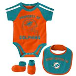 Baby Boy NFL Miami Dolphins Tackle Creeper, Bib, & Bootie Set