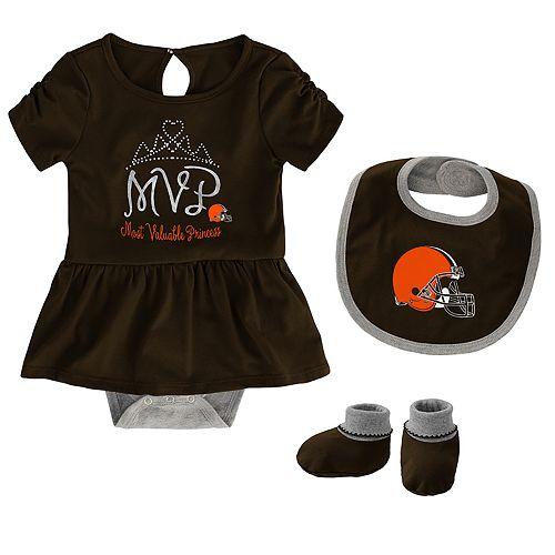 Baby Girl NFL Cleveland Browns MVP Creeper, Bib, & Bootie Set