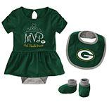 Baby Girl NFL Green Bay Packers MVP Creeper, Bib, & Bootie Set