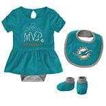 Baby Girl NFL Miami Dolphins MVP Creeper, Bib, & Bootie Set