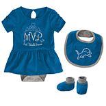 Baby Girl NFL Detroit Lions MVP Creeper, Bib, & Bootie Set